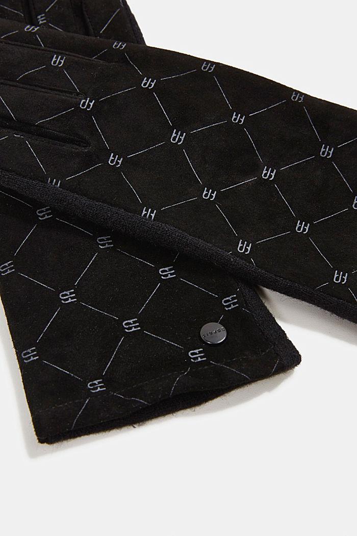 Made of leather/blended wool: monogram gloves, BLACK, detail image number 1