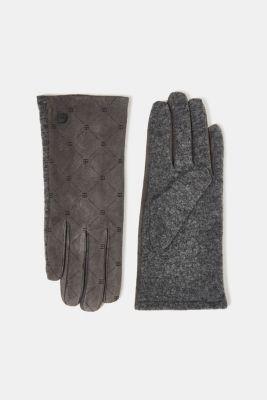 Made of leather/blended wool: monogram gloves, GUNMETAL, detail