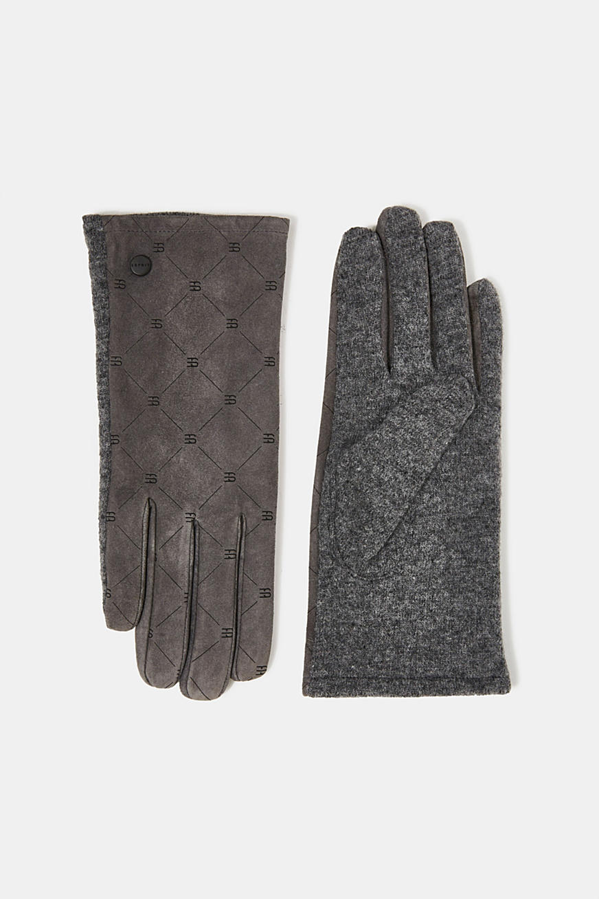 Made of leather/blended wool: monogram gloves