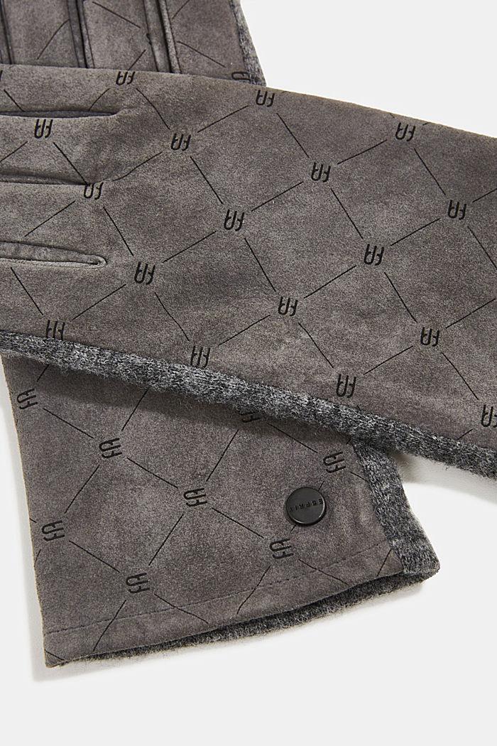 Made of leather/blended wool: monogram gloves, GUNMETAL, detail image number 1