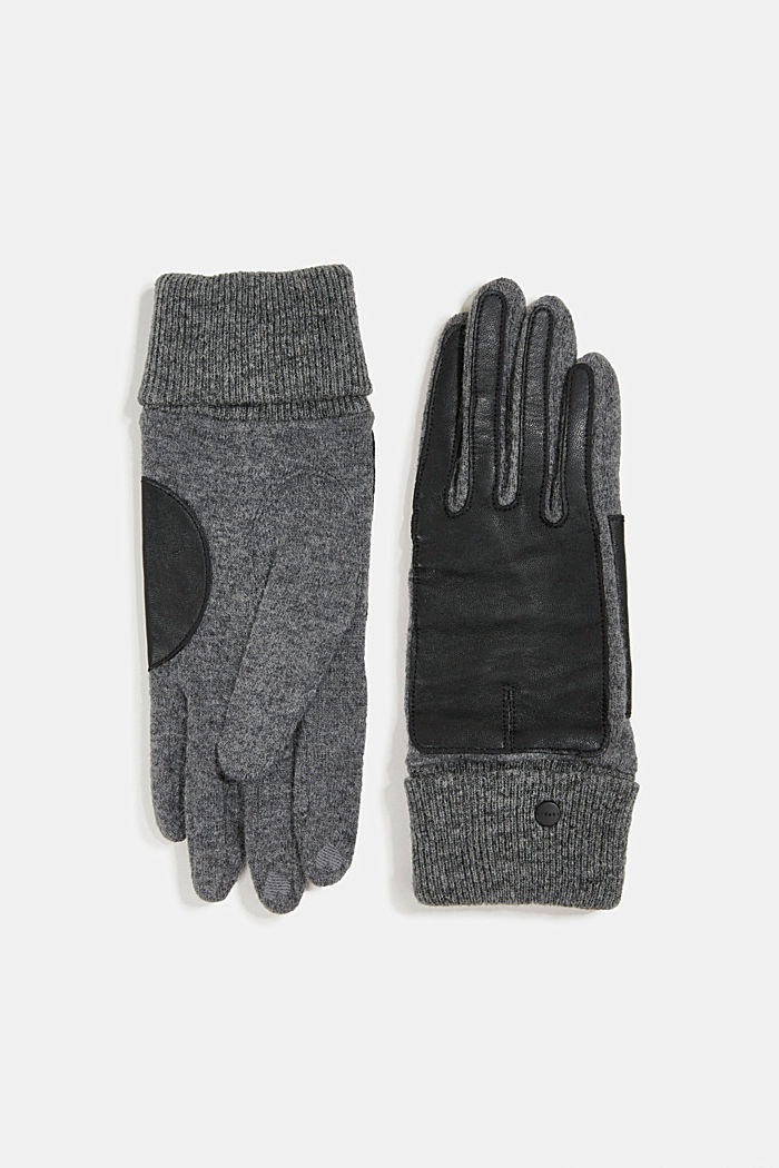 With wool/leather: touchscreen gloves, ANTHRACITE, detail image number 0