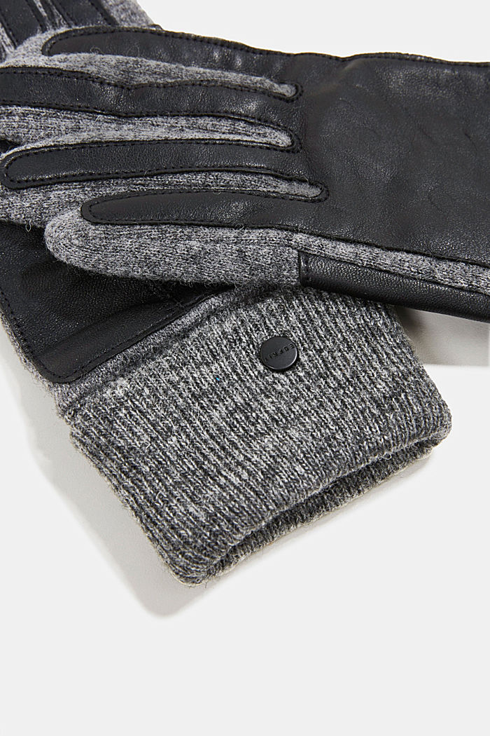 With wool/leather: touchscreen gloves, ANTHRACITE, detail image number 1