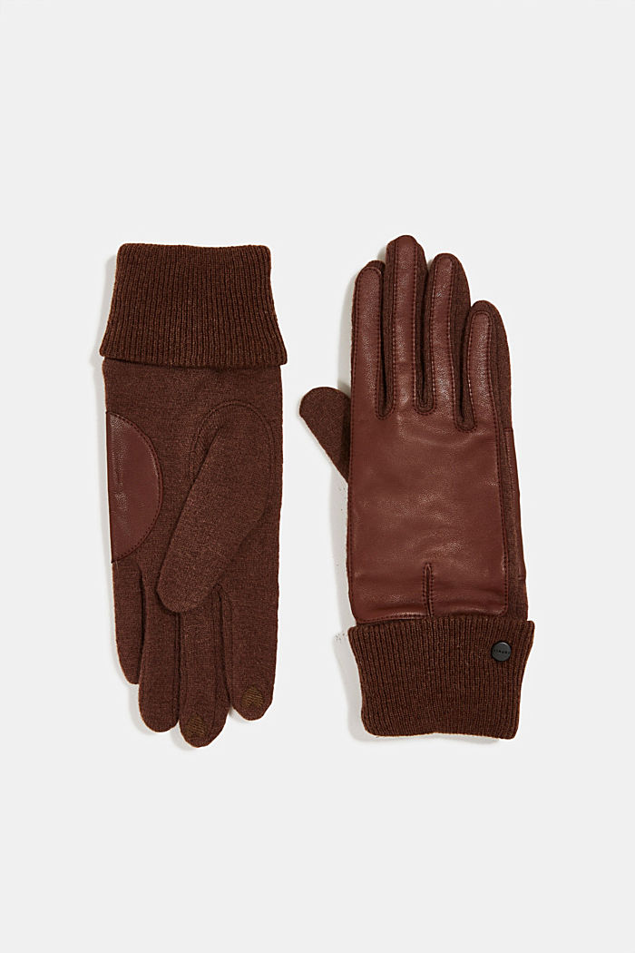 With wool/leather: touchscreen gloves, RUST BROWN, detail image number 0