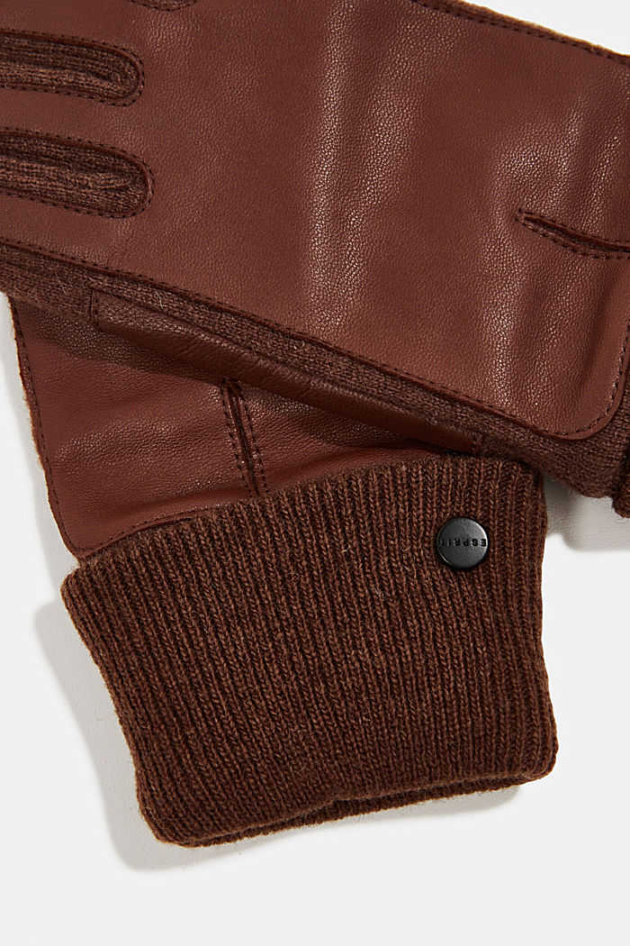 With wool/leather: touchscreen gloves, RUST BROWN, detail image number 1