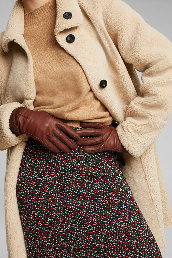 With wool/leather: touchscreen gloves, RUST BROWN, detail image number 2