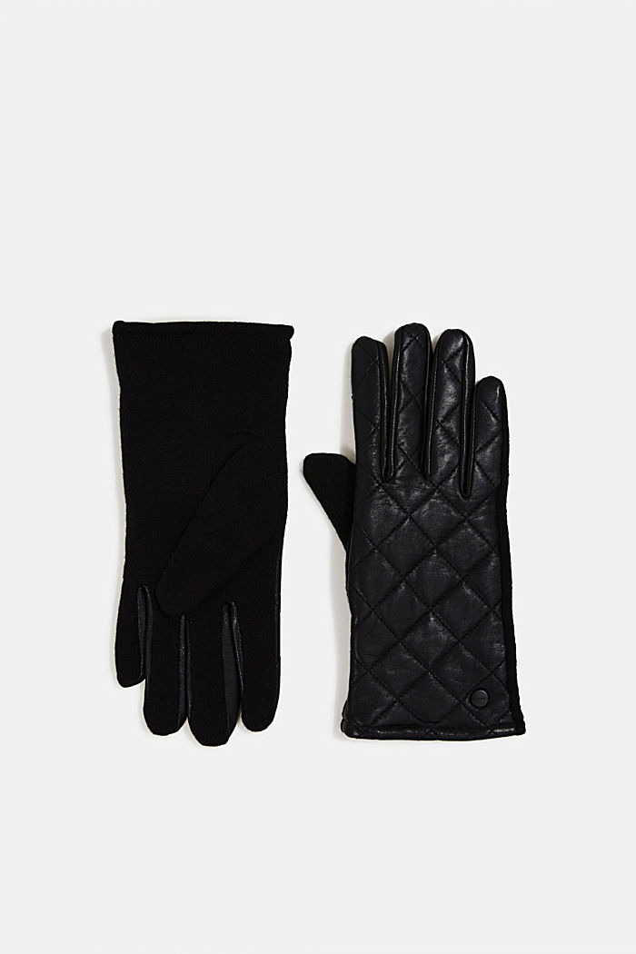 Gloves made of lamb leather and blended wool, BLACK, detail image number 0