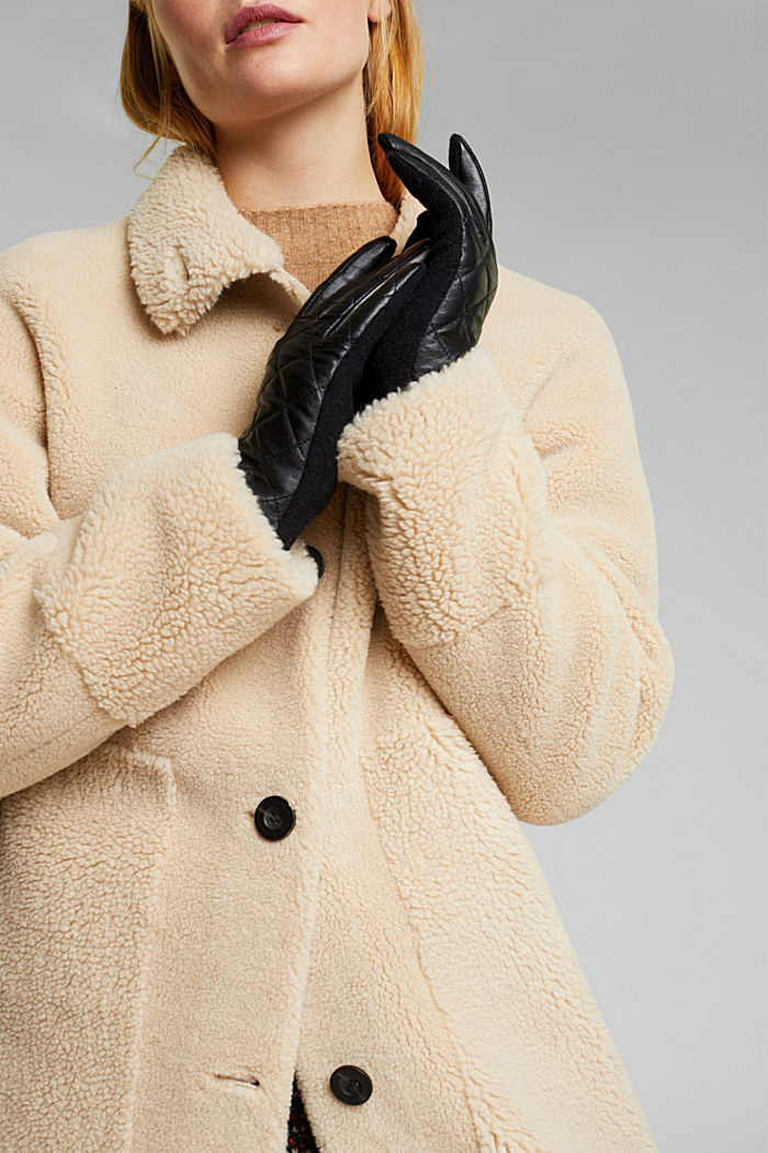 Gloves made of lamb leather and blended wool, BLACK, detail image number 2