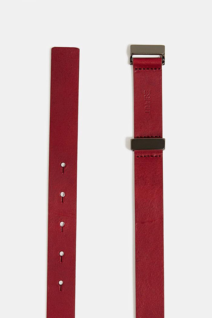 Belts leather, BORDEAUX RED, detail image number 1