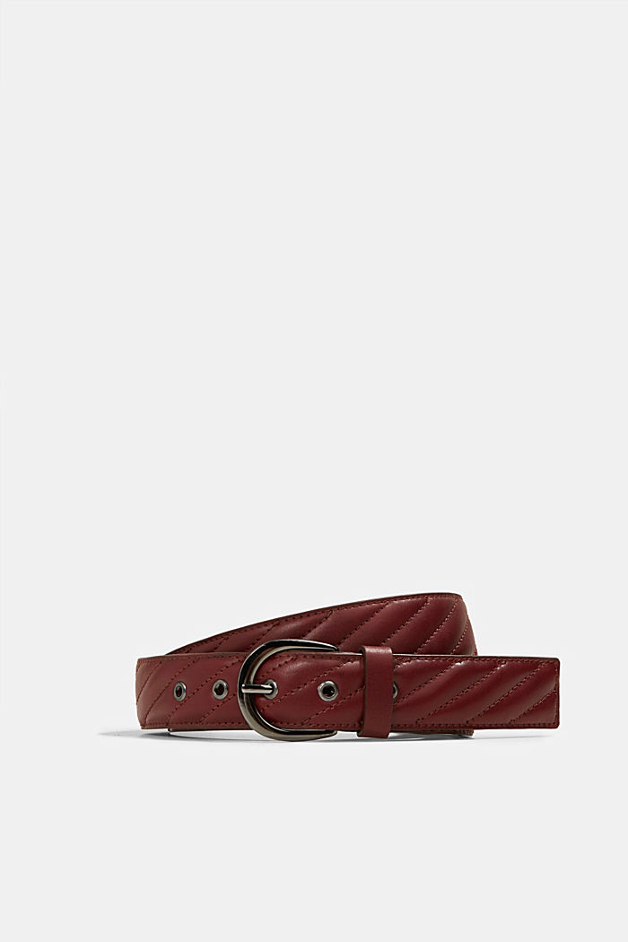 Topstitched leather belt, chrome-free bleached, BORDEAUX RED, detail image number 0