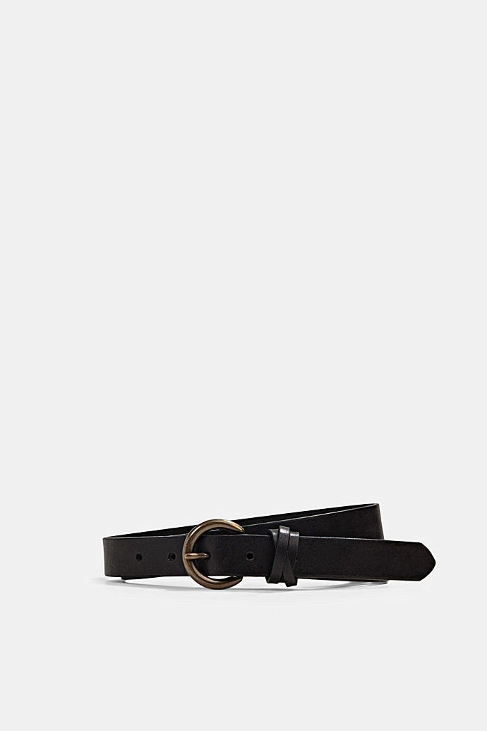 Narrow leather belt, BLACK, overview