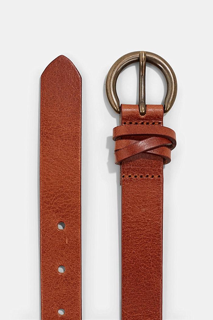 Schmaler Gürtel aus Leder, RUST BROWN, detail image number 1