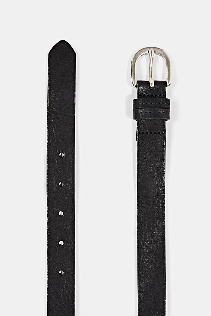 Narrow leather belt, BLACK, detail image number 1