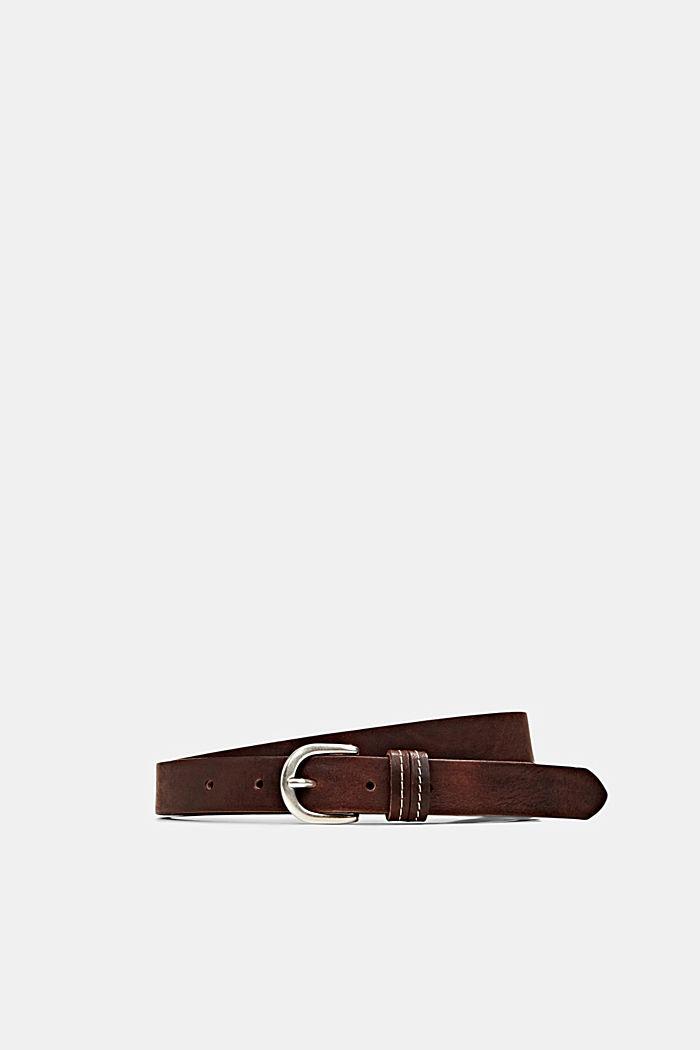 Narrow leather belt, BROWN, detail image number 0
