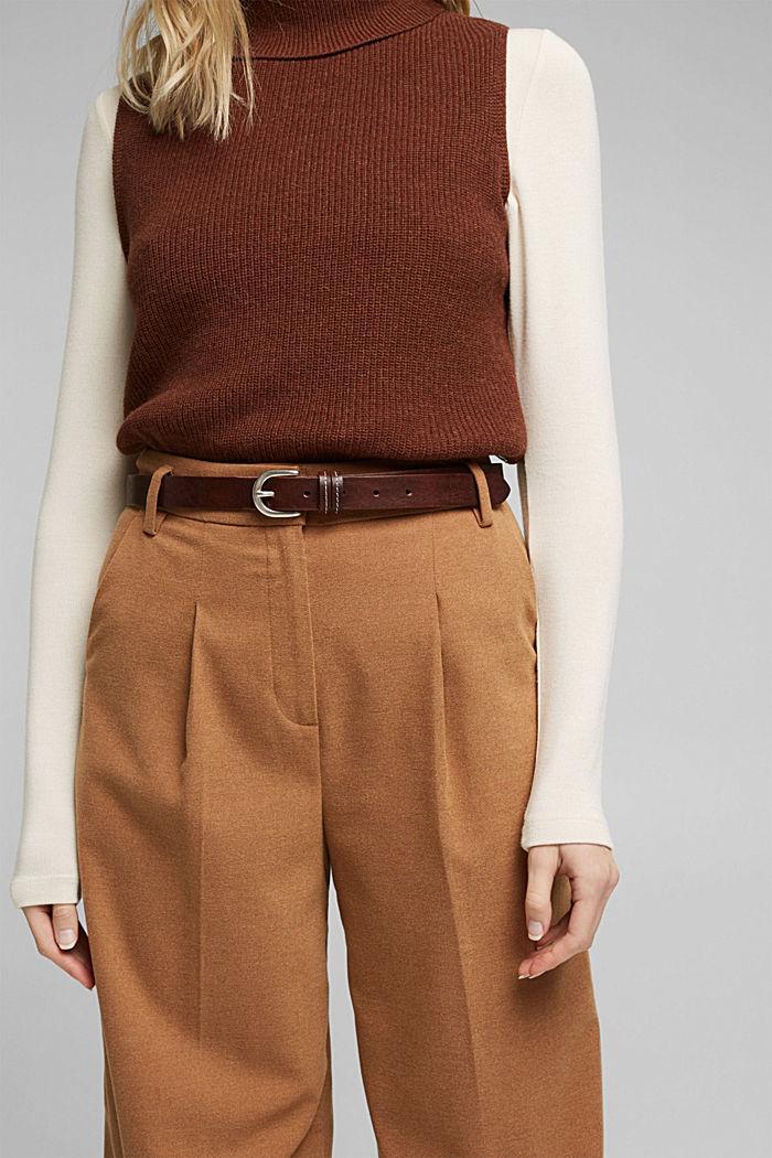 Narrow leather belt, BROWN, detail image number 2