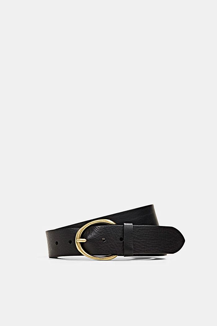 Wide belt in 100% leather, BLACK, detail image number 0