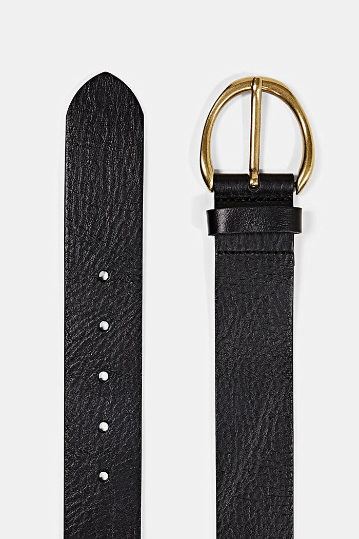 Wide belt in 100% leather, BLACK, detail image number 1
