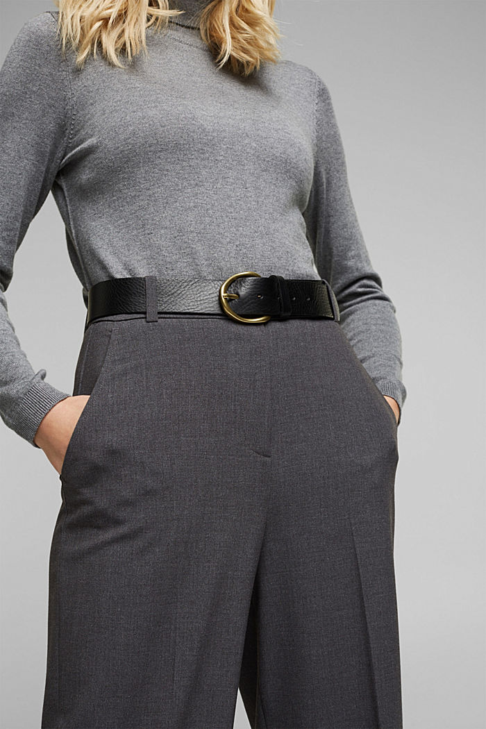 Wide belt in 100% leather, BLACK, detail image number 2