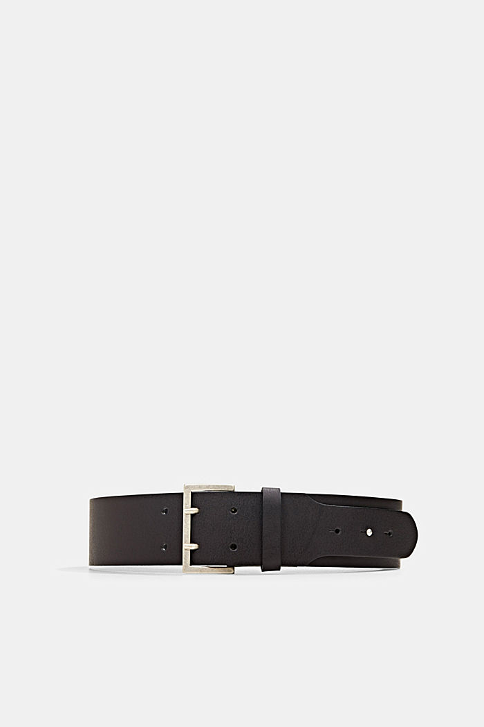 Wide leather waist belt, BLACK, detail image number 0