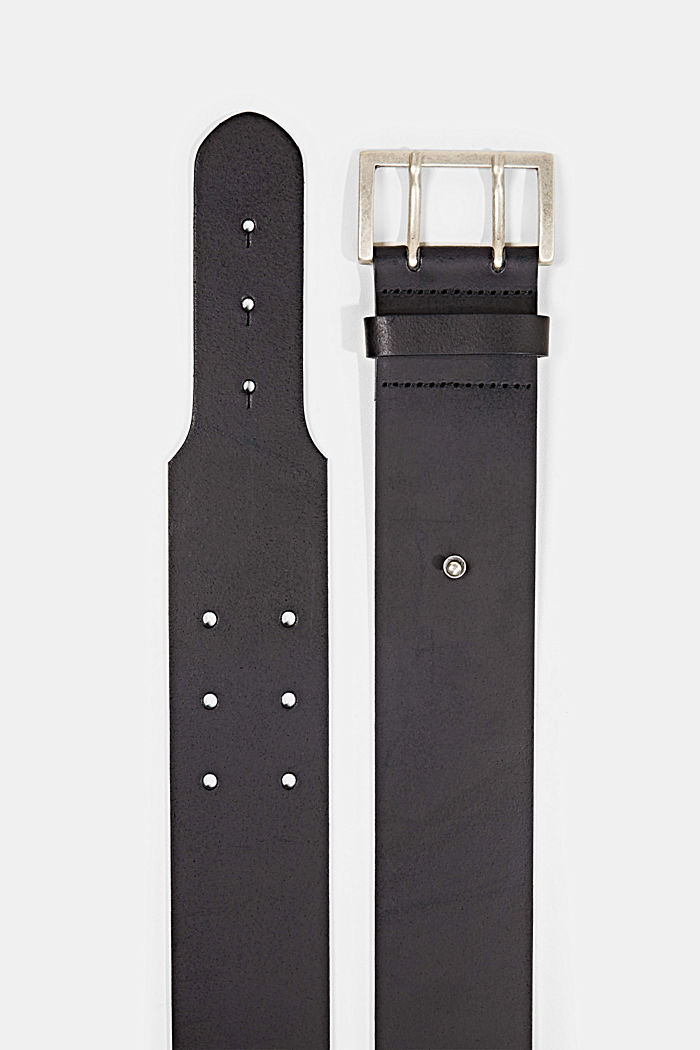 Wide leather waist belt, BLACK, detail image number 1