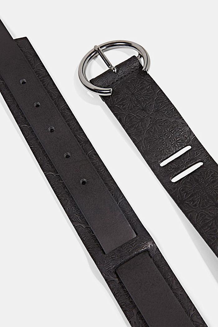 Waist belt made of 100% leather, BLACK, detail image number 1