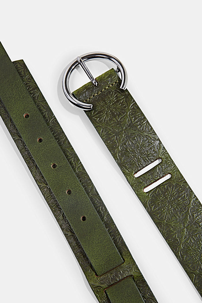 Waist belt made of 100% leather, FOREST, detail image number 1