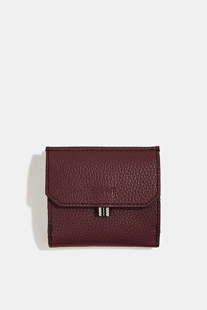 Vegan: small faux leather wallet, BORDEAUX RED, detail image number 0