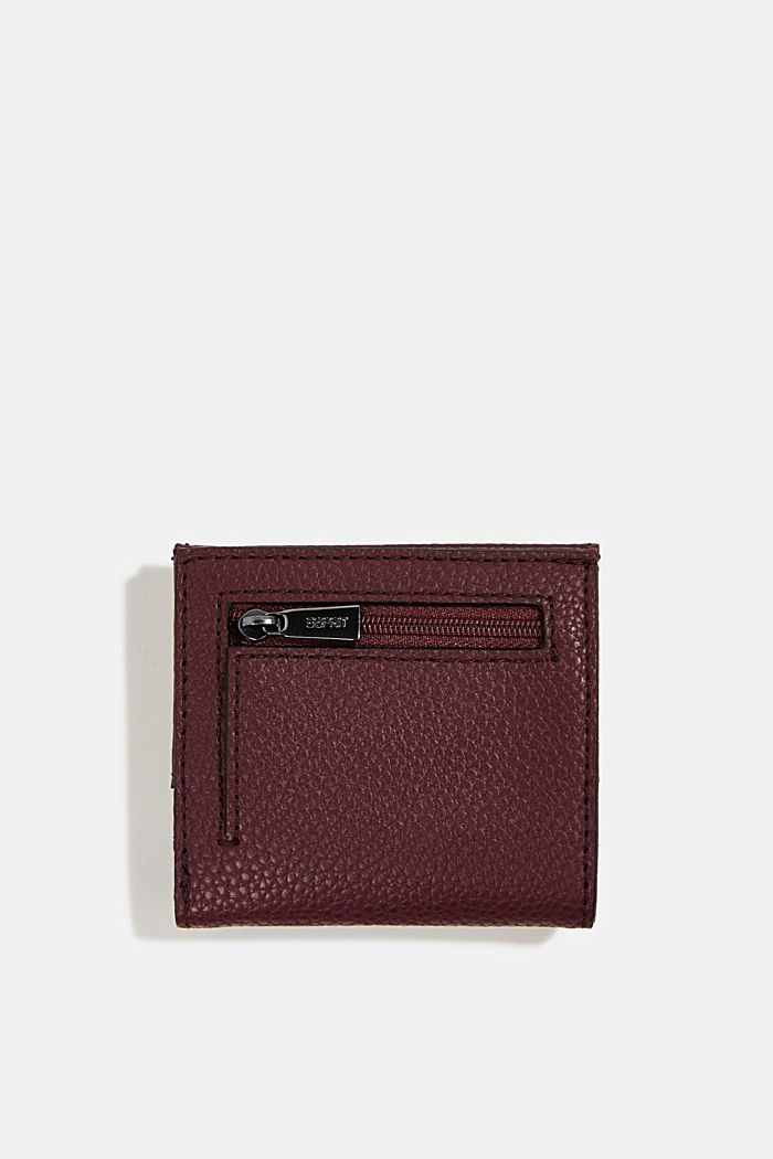 Vegan: small faux leather wallet, BORDEAUX RED, detail image number 2
