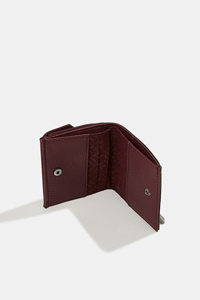 Vegan: small faux leather wallet, BORDEAUX RED, detail image number 3