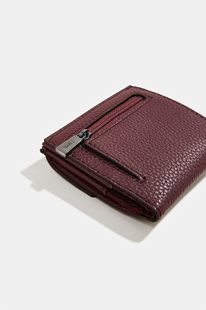 Vegan: small faux leather wallet, BORDEAUX RED, detail image number 1