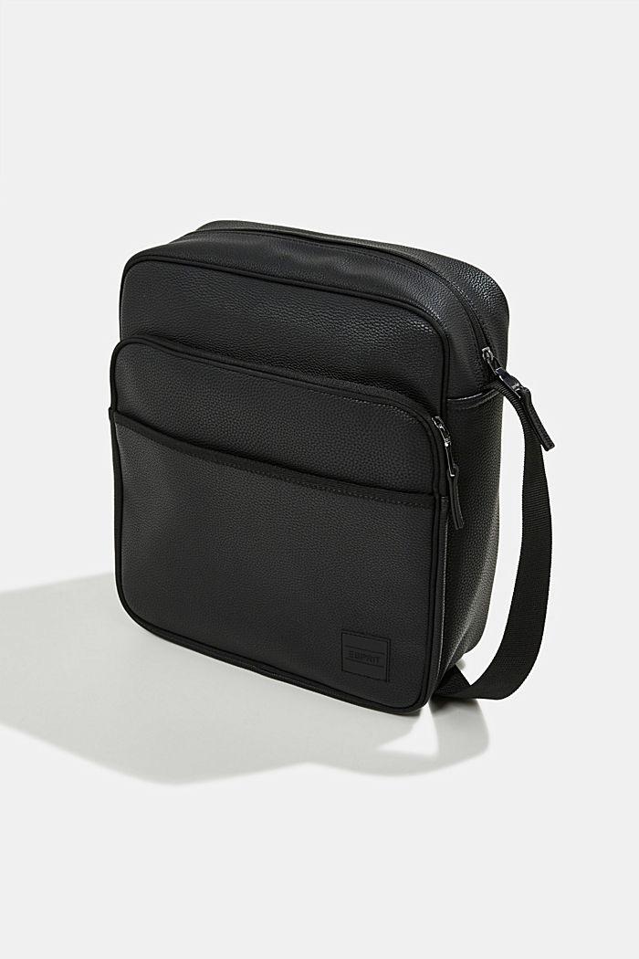 Vegan: faux leather flight bag, BLACK, detail image number 2