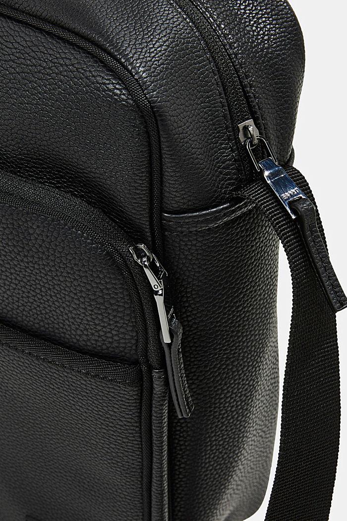 Vegan: faux leather flight bag, BLACK, detail image number 3