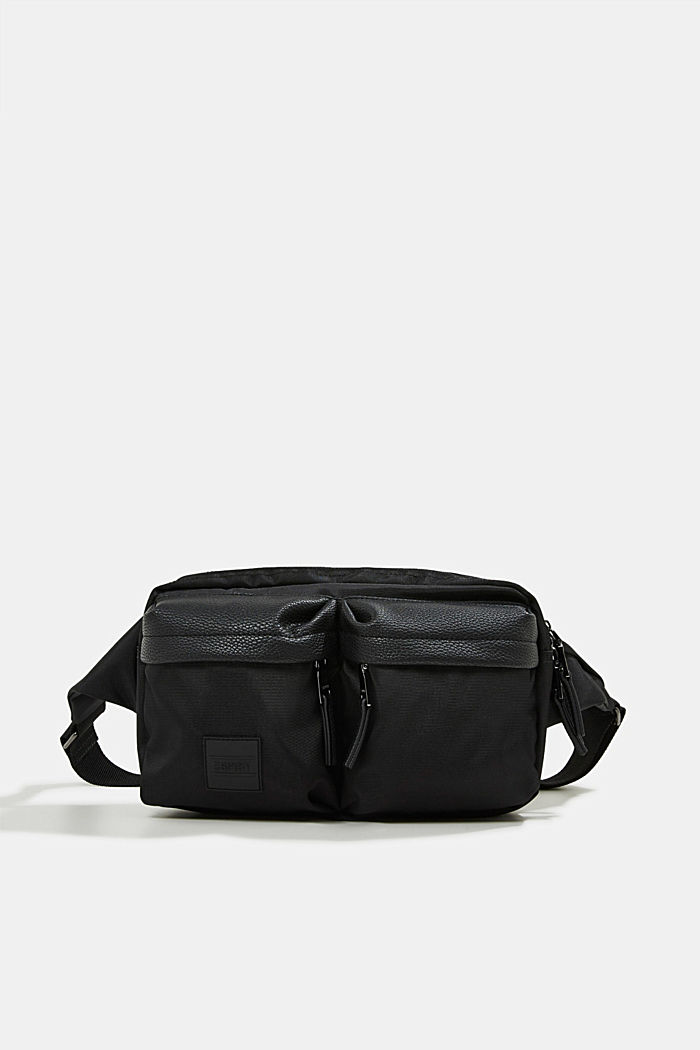 Hip bag with faux leather details, BLACK, detail image number 0