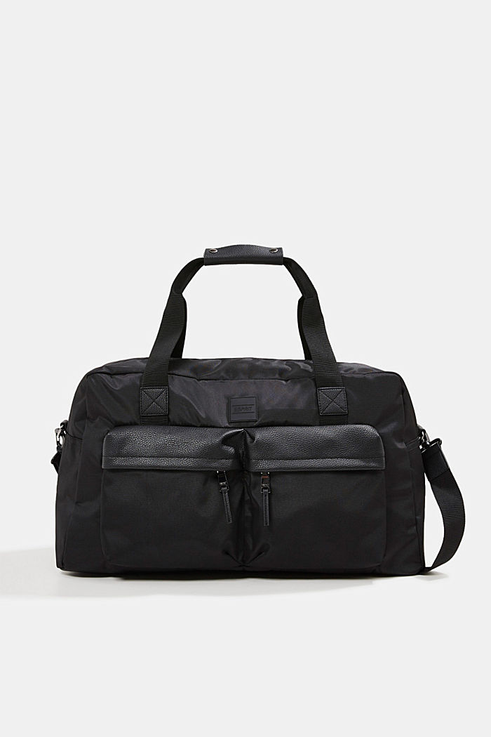 Weekender with faux leather details, BLACK, overview