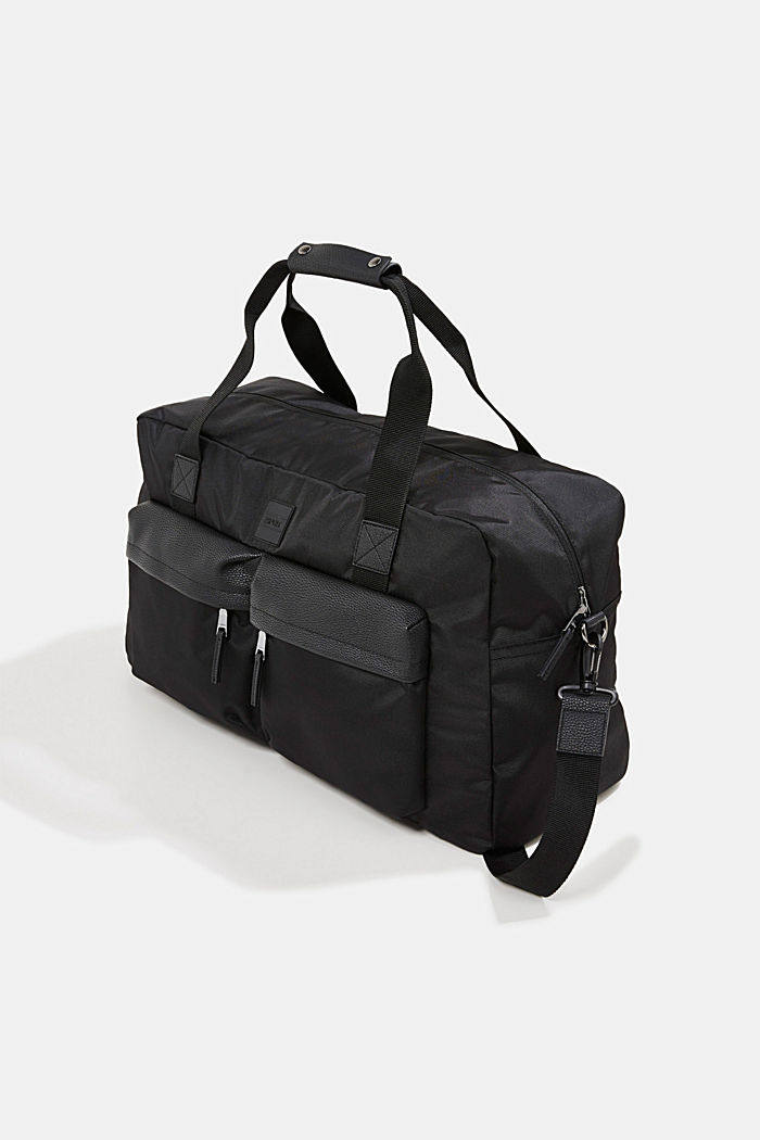 Weekender with faux leather details, BLACK, detail image number 2