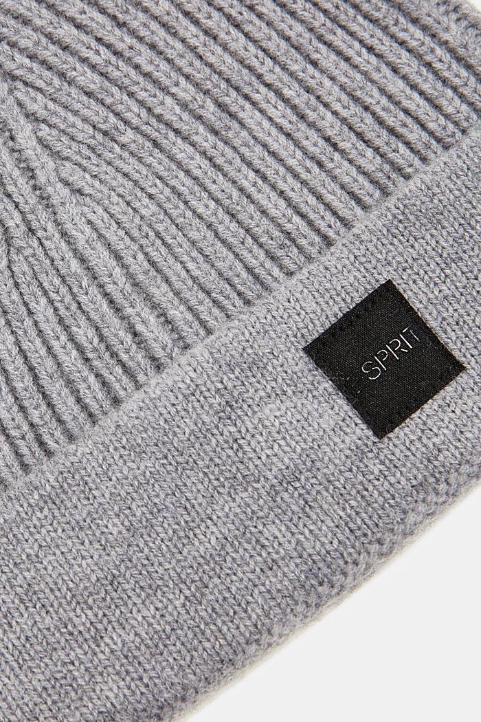 Beanie in 100% wool, GREY, detail image number 1
