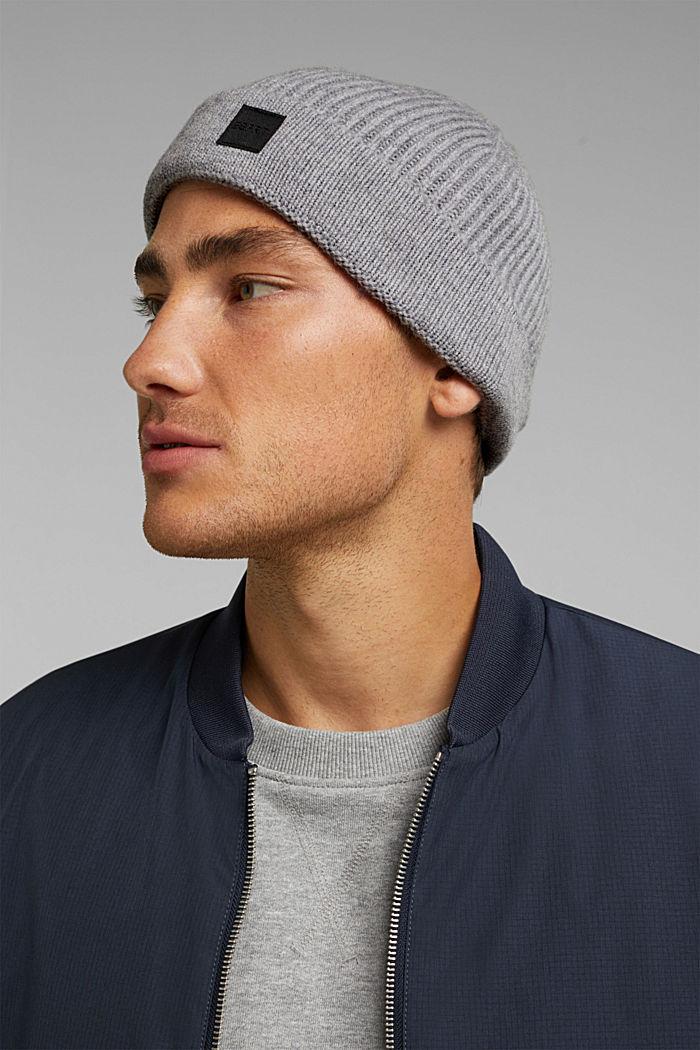 Beanie in 100% wool, GREY, detail image number 2