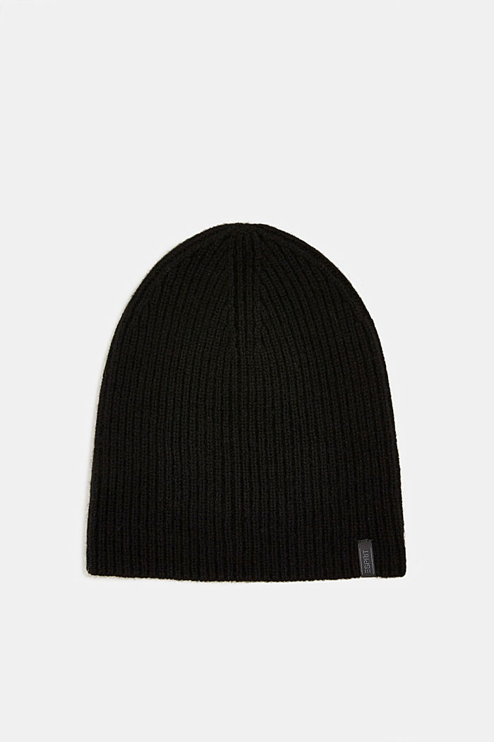 Beanie in a cashmere blend, BLACK, detail image number 0
