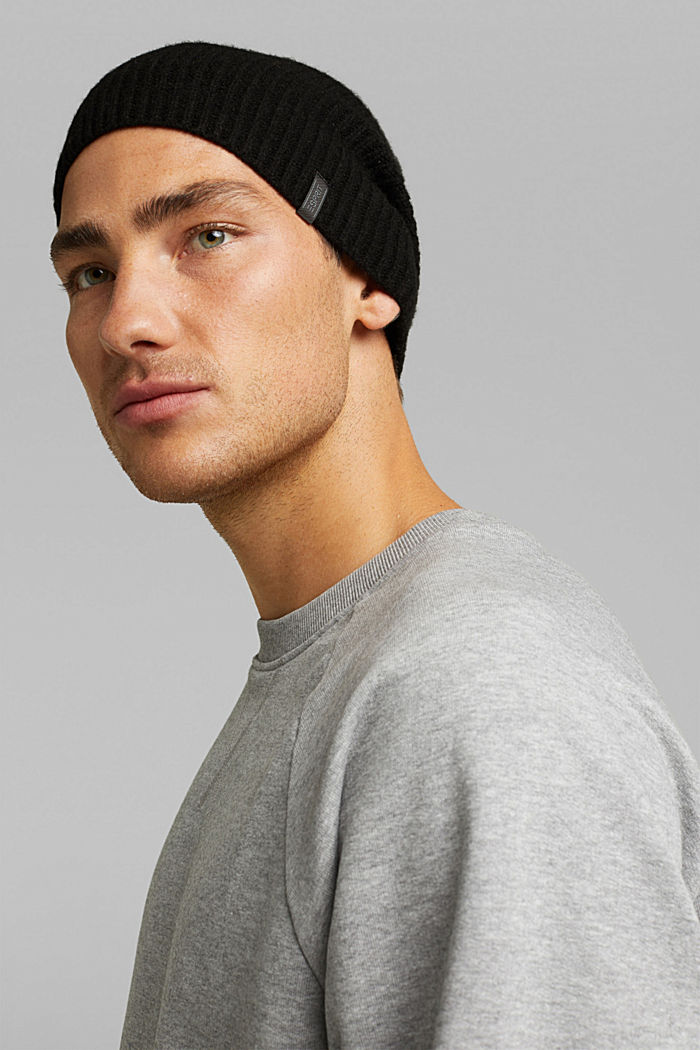 Beanie in a cashmere blend, BLACK, detail image number 2