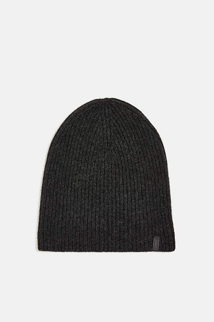 Beanie in a cashmere blend, DARK GREY, detail image number 0