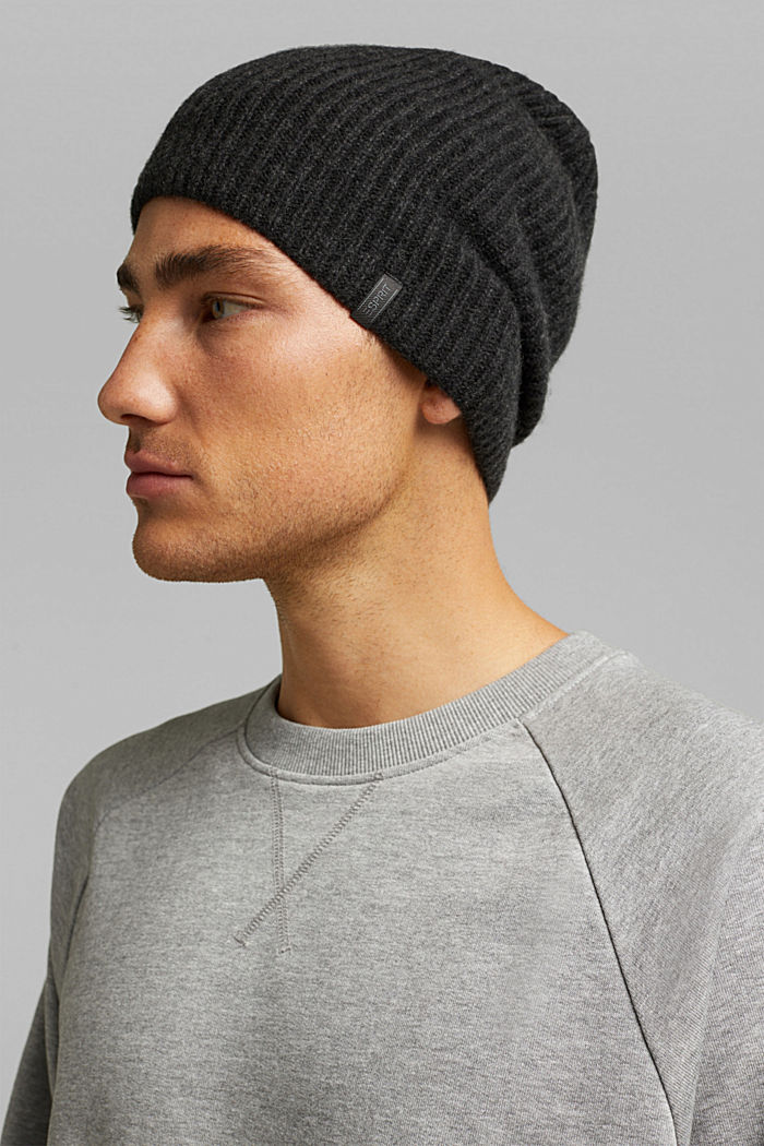Beanie in a cashmere blend, DARK GREY, detail image number 2