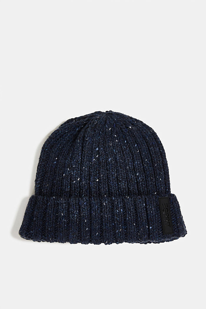 Knitted hat with wool and alpaca, NAVY, detail image number 0