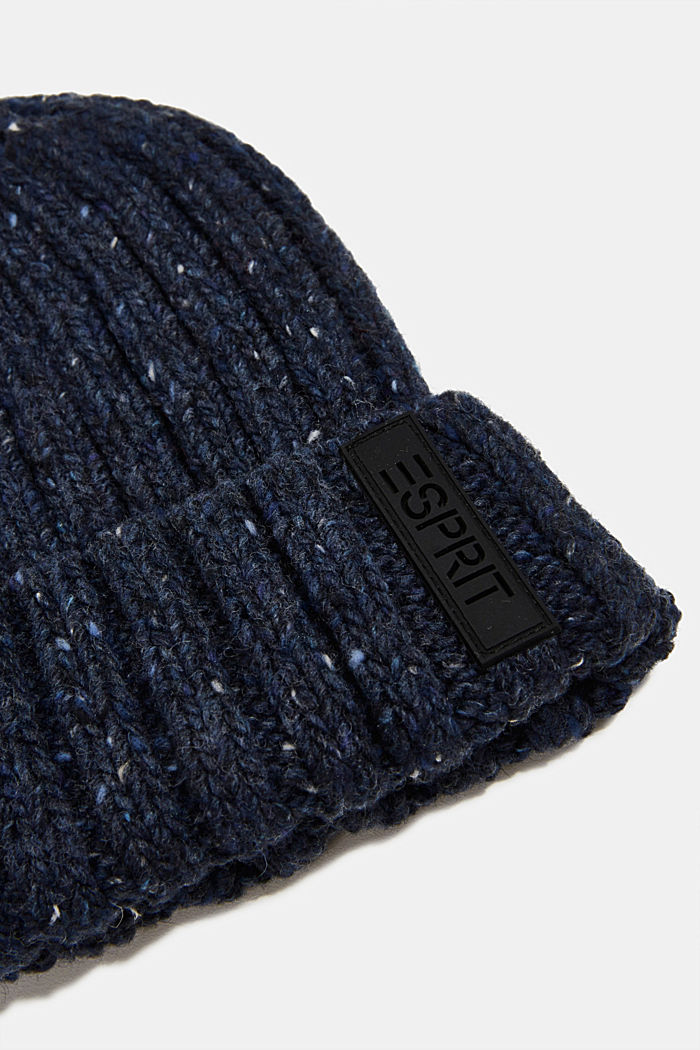 Knitted hat with wool and alpaca, NAVY, detail image number 1