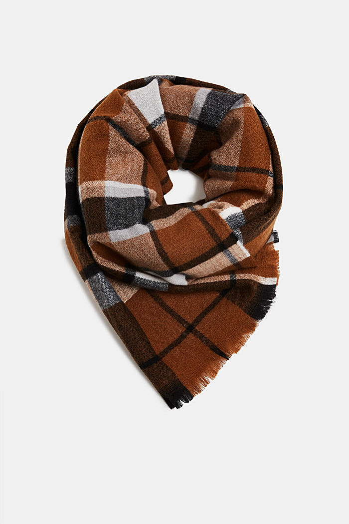 Recycled woven scarf with a check pattern, TOFFEE, detail image number 0