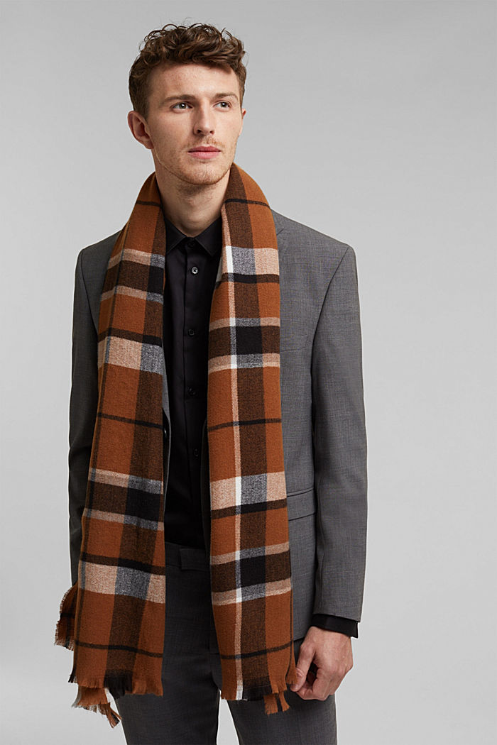 Recycled woven scarf with a check pattern, TOFFEE, detail image number 1