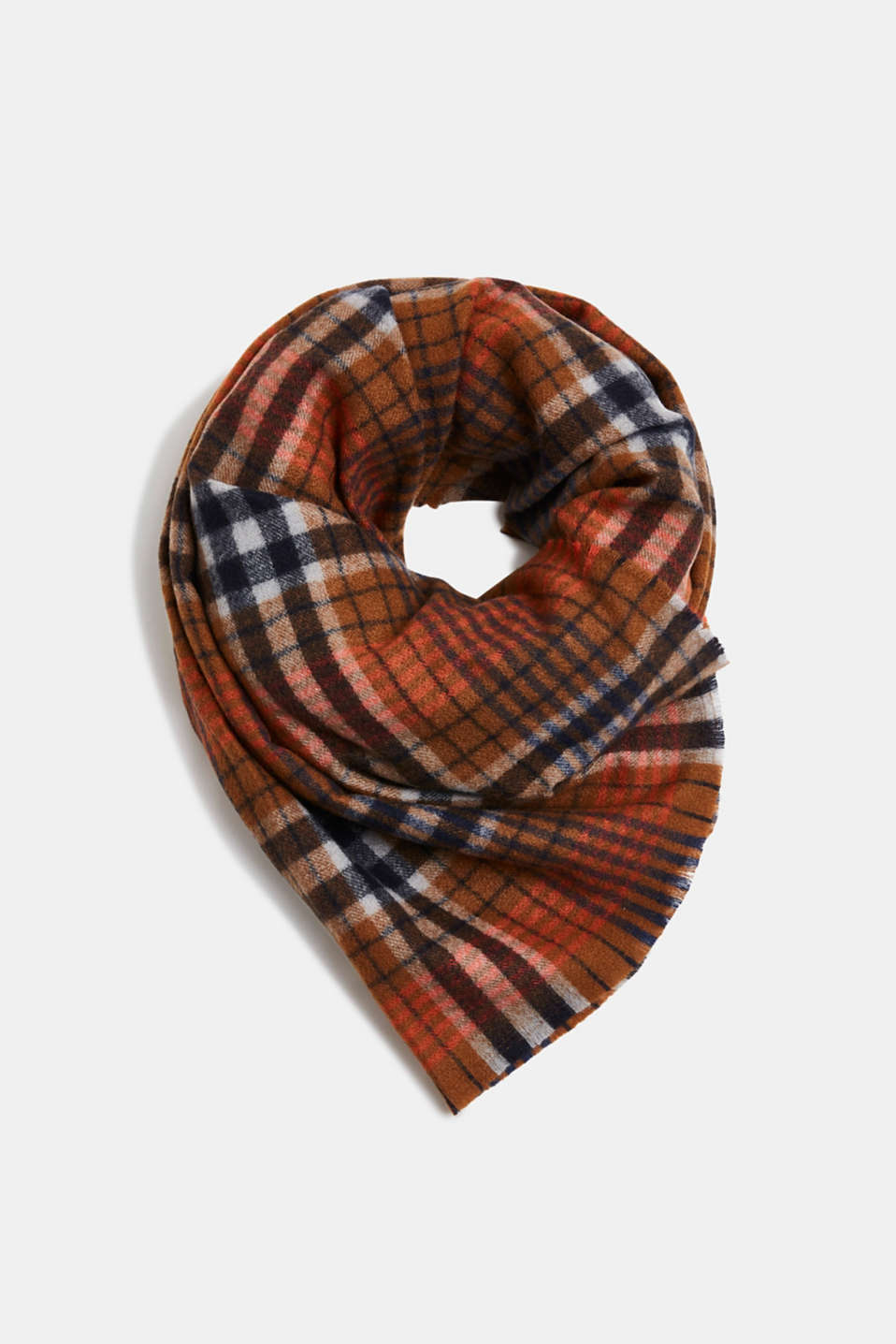 Esprit - Recycled woven scarf with a check pattern