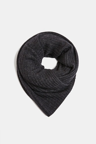Ribbed knit scarf with cashmere