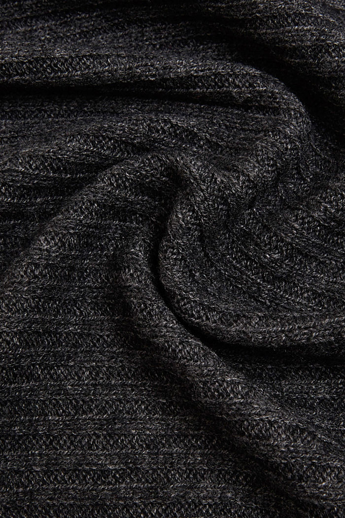 Ribbed knit scarf with cashmere, DARK GREY, detail image number 2