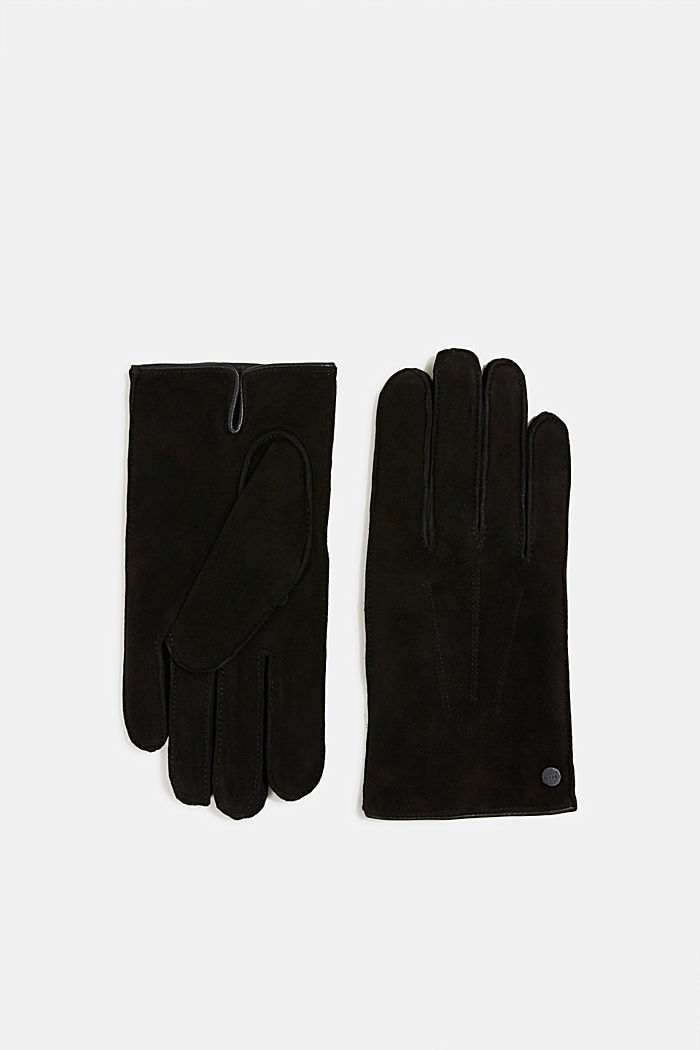 Suede gloves, BLACK, overview