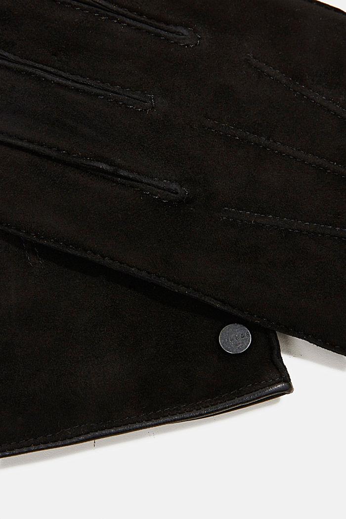 Suede gloves, BLACK, detail image number 1