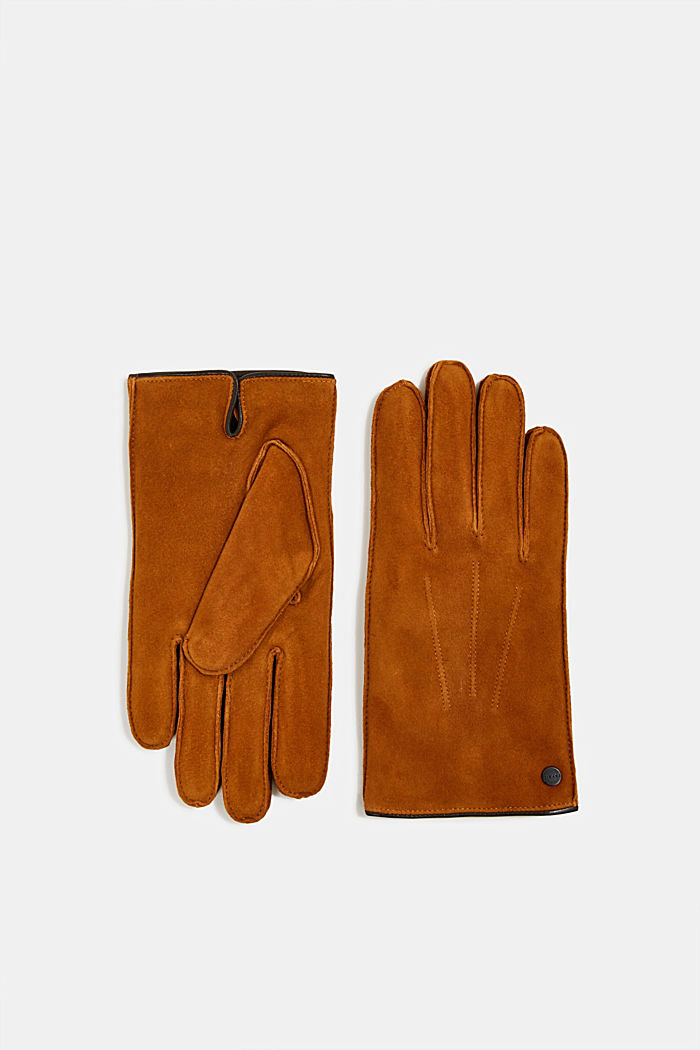 Suede gloves, CARAMEL, detail image number 0